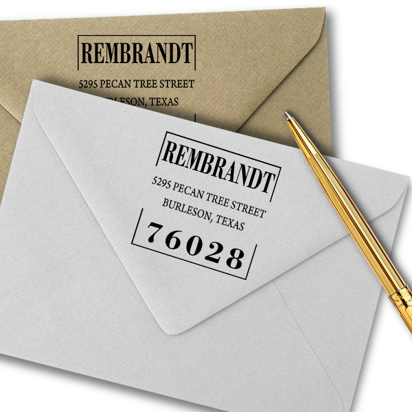Stated Clearly Square Return Address Stamp Imprint Example