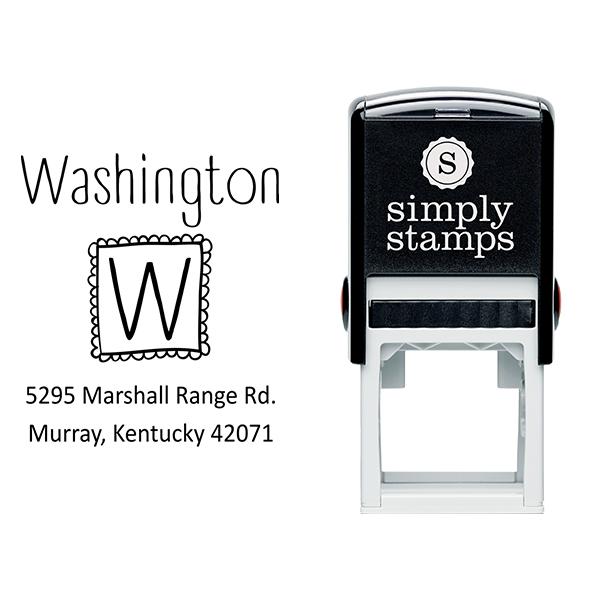 Cute Monogram Return Address Stamp Body and Design