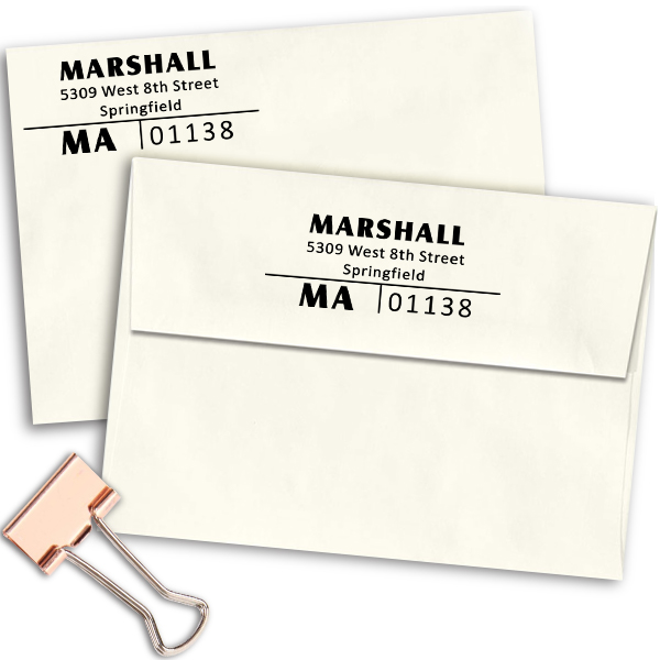 Split Line Return Address Stamp Imprint Example
