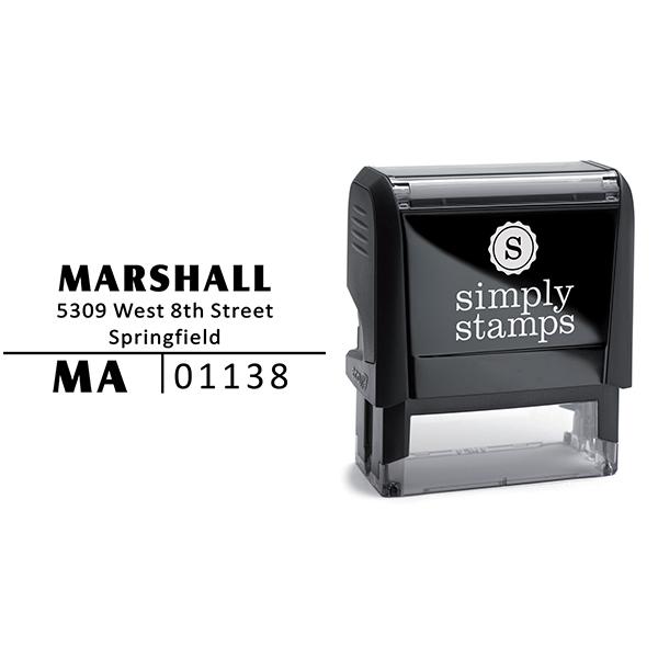 Split Line Return Address Stamp Body and Design