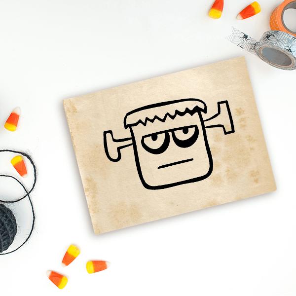 Frankenstein Monster Halloween Craft Rubber Stamp Imprint Example