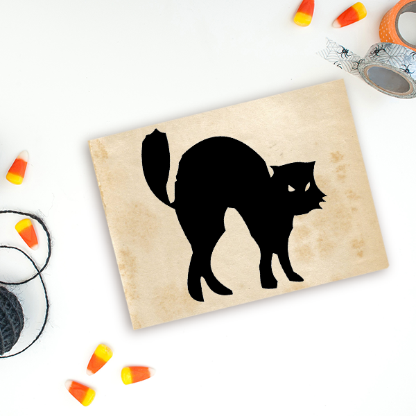 Black Cat Halloween Craft Rubber Stamp Imprint Example