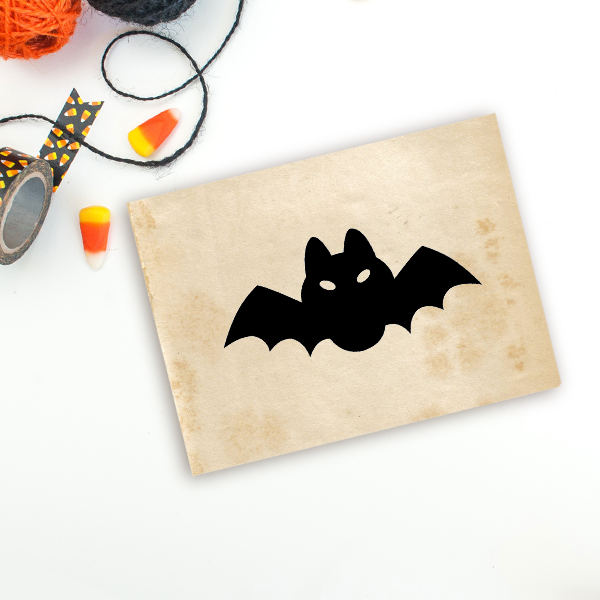 Short Fat Bat Halloween Craft Rubber Stamp Imprint Example