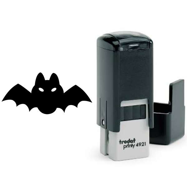 Short Fat Bat Halloween Craft Rubber Stamp Body and Design