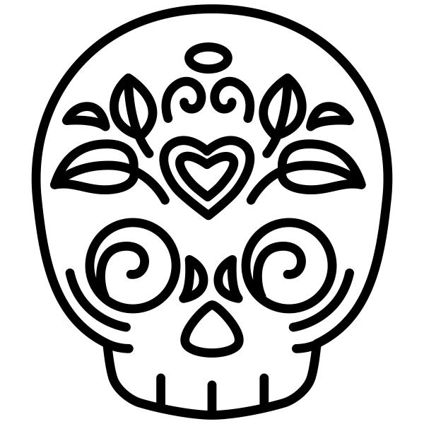 Skull Candy Heart Halloween Craft Rubber Stamp