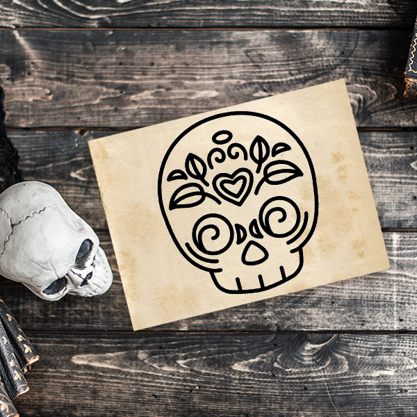 Skull Candy Heart Halloween Craft Rubber Stamp Imprint Example