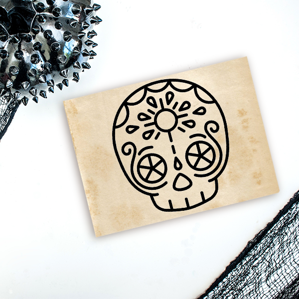 Skull Candy Sun Halloween Craft Rubber Stamp Imprint Example