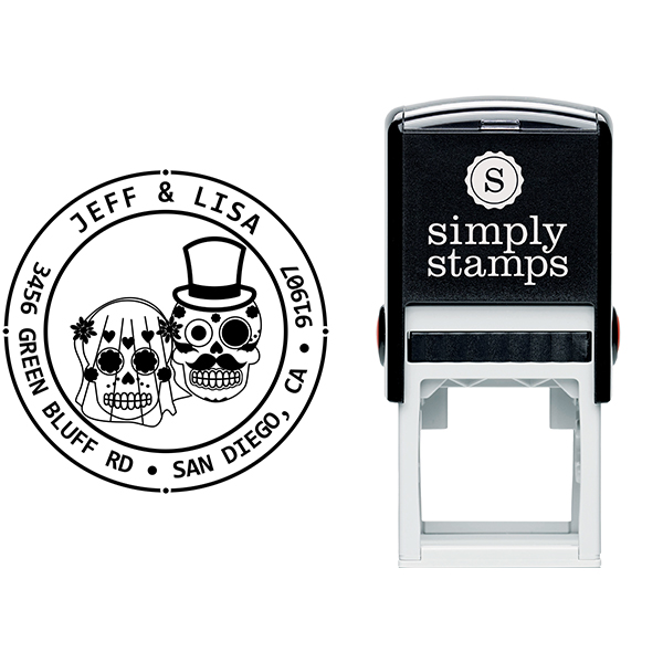 Sugar Skull Bride Groom Round Address Stamp Body and Design