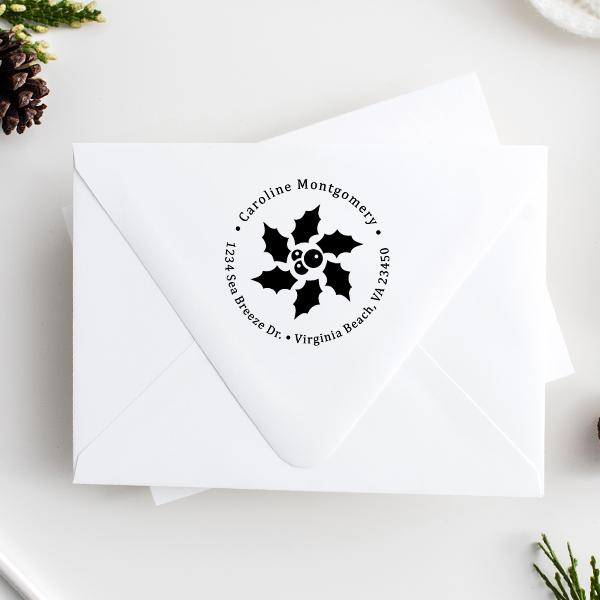 Star Holly Return Address Stamp Imprint Example