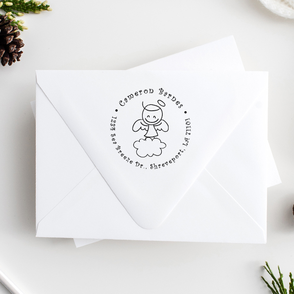 Smiley Angel Return Address Stamp Imprint Example