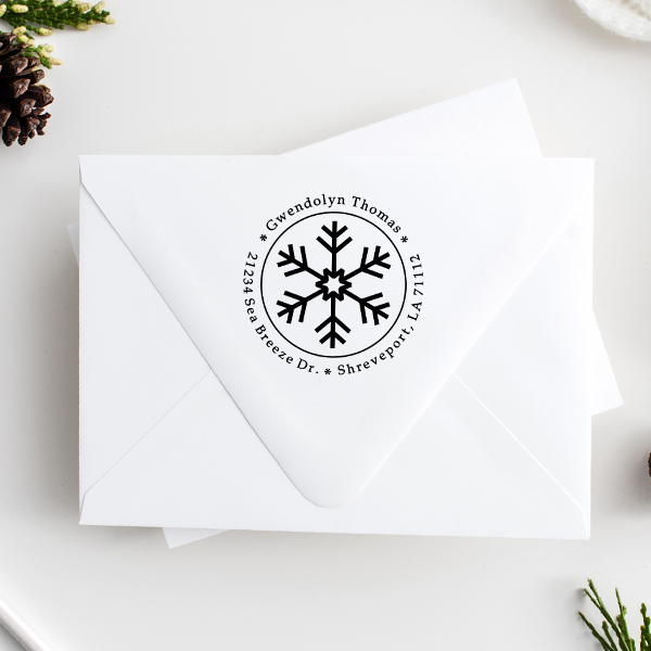 Six Point Snowflake Return Address Stamp Imprint Example