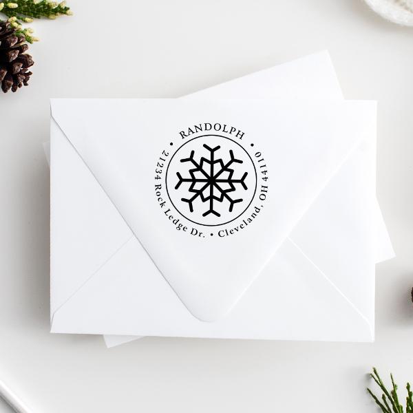 Eight Point Snowflake Return Address Stamp Imprint Example