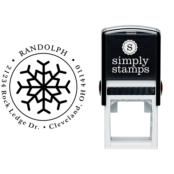 Eight Point Snowflake Return Address Stamp Body and Design