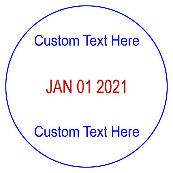 Custom 1 Line Top 1 Line Bottom Round Dater