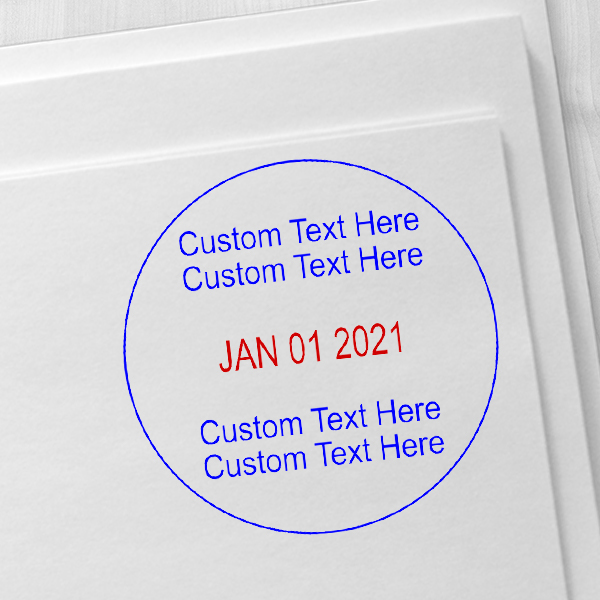 2 Line Top 2 Line Bottom Round Dater Stamp Imprint Example