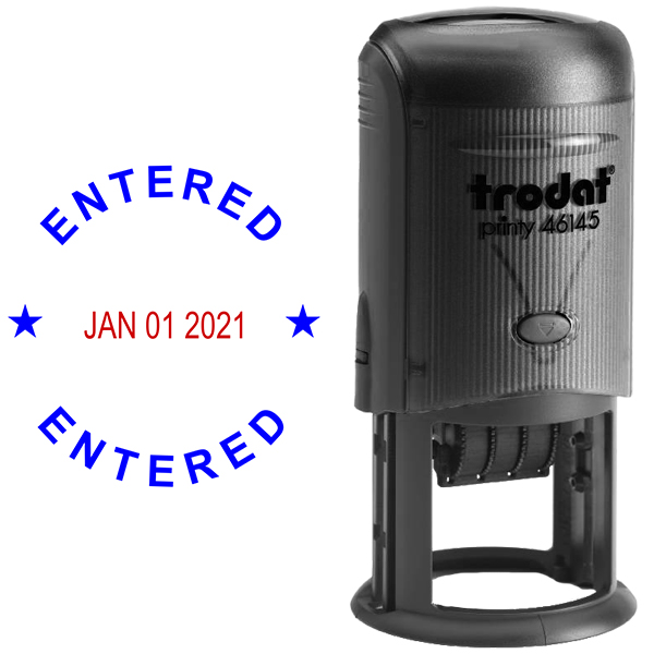 Round Self-Inking Dater Entered Stamp Body and Design
