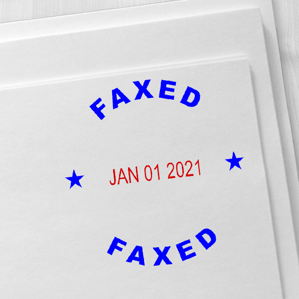 Round Self-Inking Dater Faxed Stamp Imprint Example
