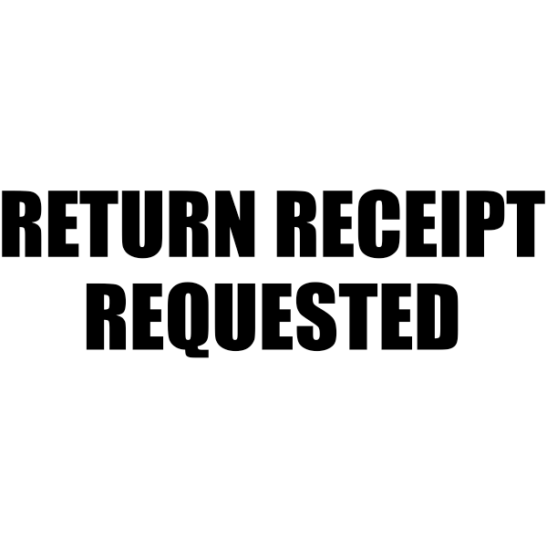 RETURN RECEIPT REQUESTED Stock Stamp Imprint