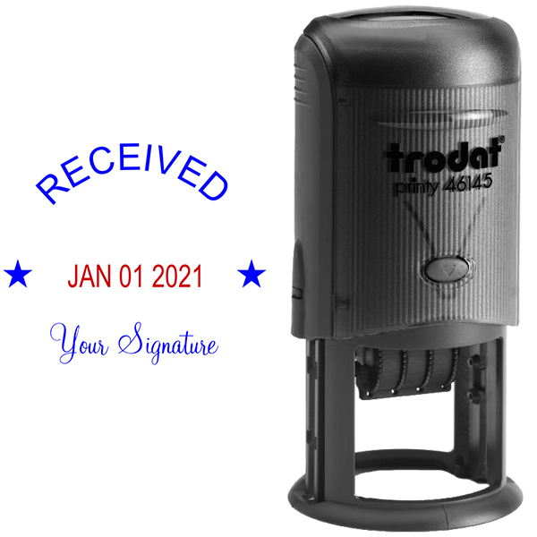 Round Self-Inking Dater w/ Signature Stamp Body and Design