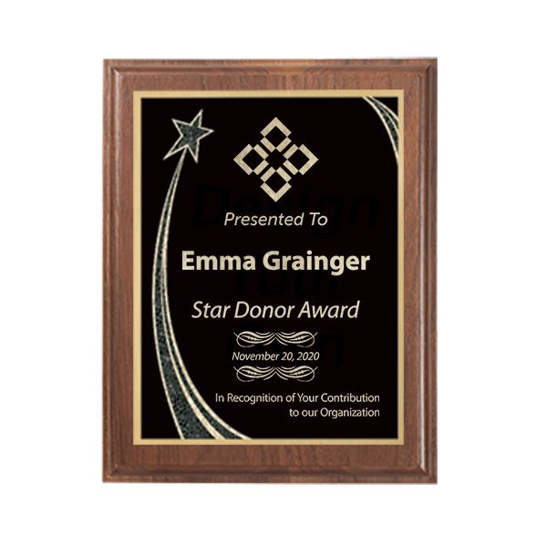 8 x 10 Donor Recognition Rising Star Walnut Plaque