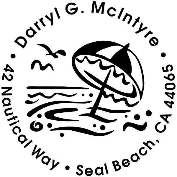 Umbrella Ocean Scene Address Stamp
