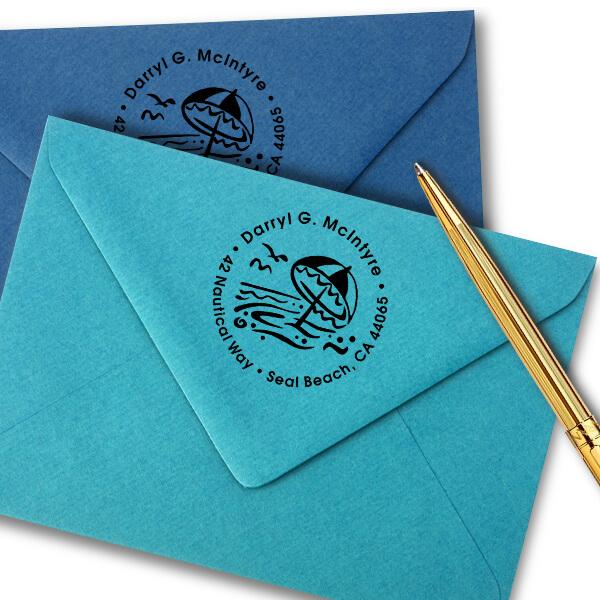 Umbrella Ocean Scene Address Stamp Imprint Example