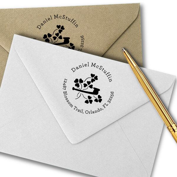 Heart Shamrock Pipe Address Stamp Imprint Example