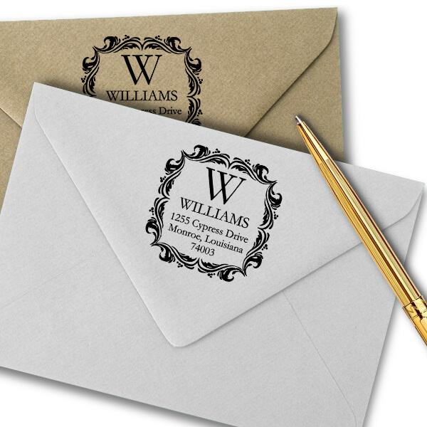 Ornament Border Return Address Stamp Imprint Example on Paper