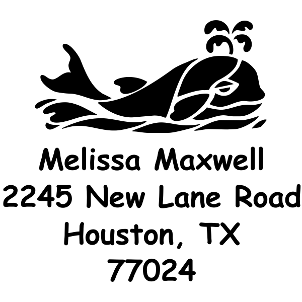 Whale rubber address stamp