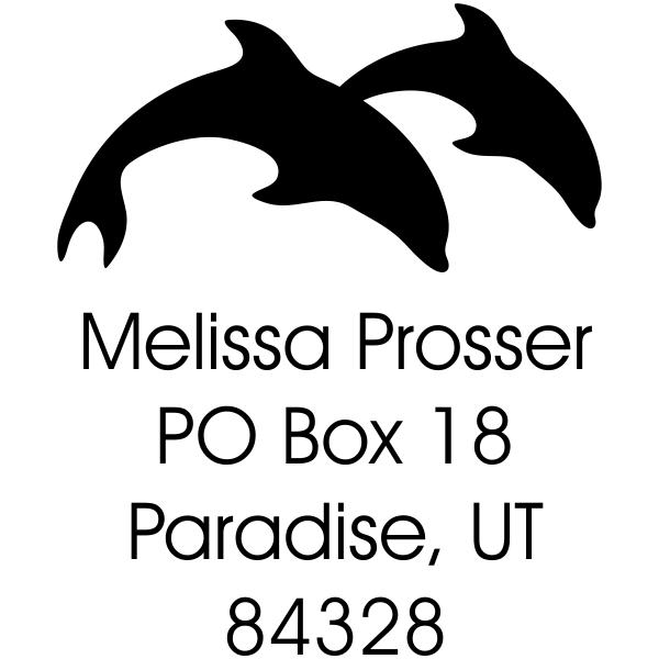 double dolphin return address stamp design