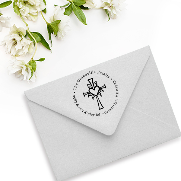 Lily Cross Heart Address Stamp Imprint Example