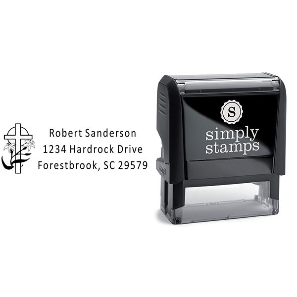 Lily Cross Rectangle Address Stamp Body and Design