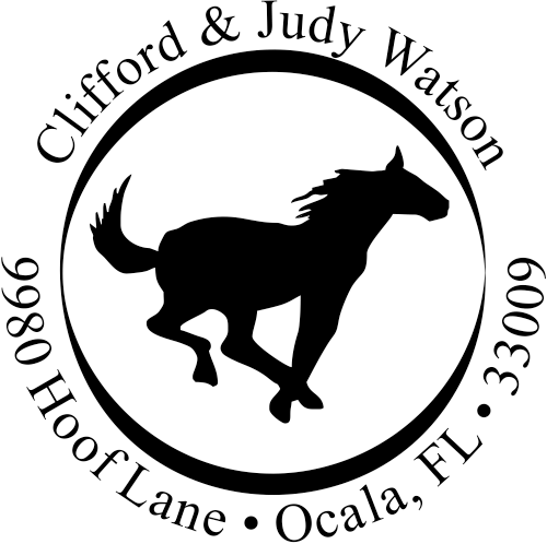 Running Horse Address Self-Inking Rubber Stamp