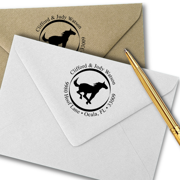 Running Horse Address Self-Inking Rubber Stamp Imprint Example on Paper