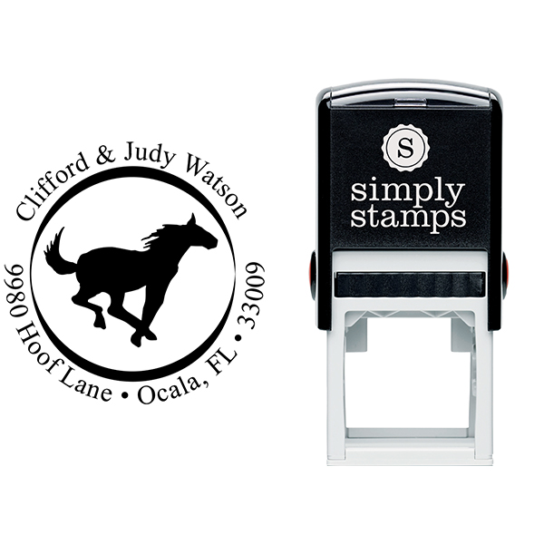 Running Horse Address Self-Inking Rubber Stamp Stamp Body and Imprint