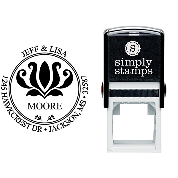 Round Address - Self-Inking Rubber Stamp Stamp Body and Imprint