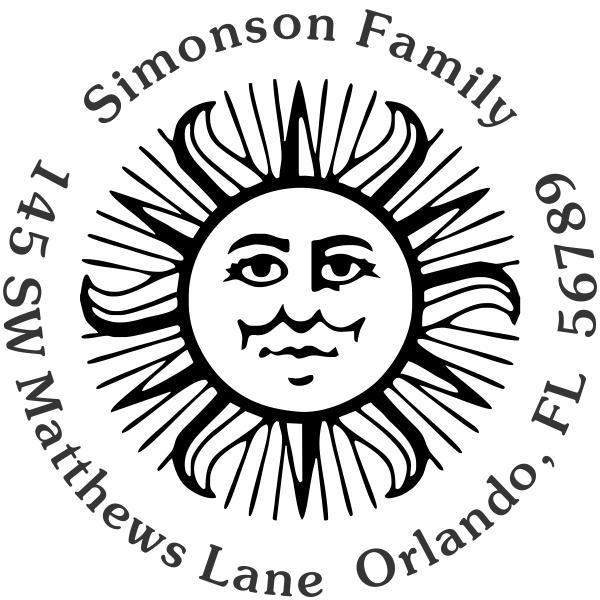 Sun Motif Custom Address Stamp