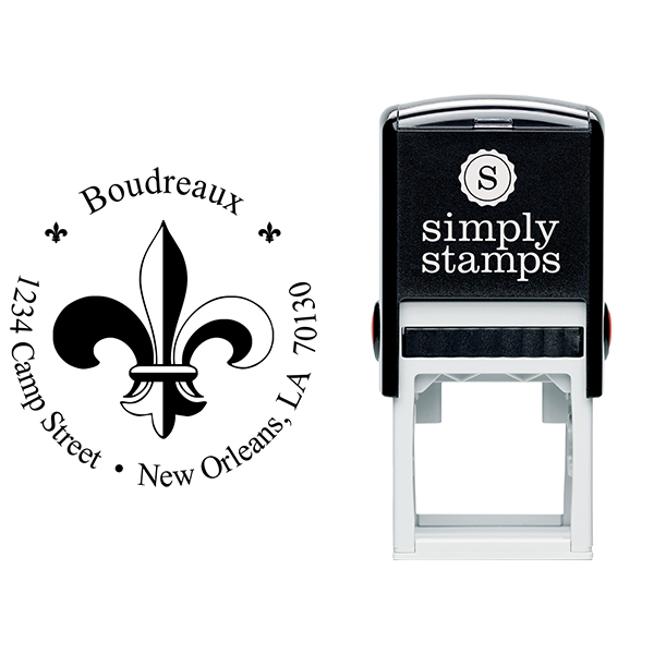 Fleur de Lis Return Address Stamp Body and Imprint