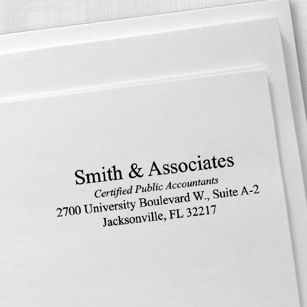 Company Title Address Stamp Imprint Example