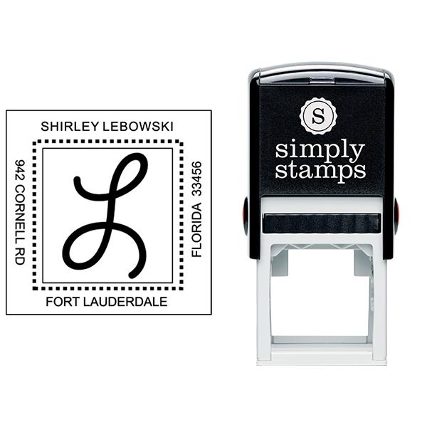 Center Mongram Address Stamp - Style S1 Stamp Body and Imprint