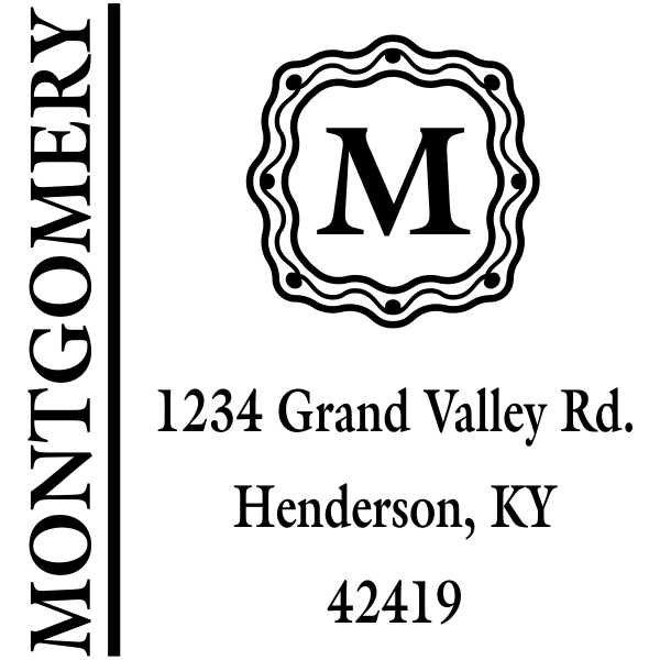 Last name monogram return address stamp