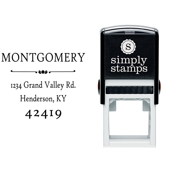 Montgomery Flower Deco Address Stamp Body and Design