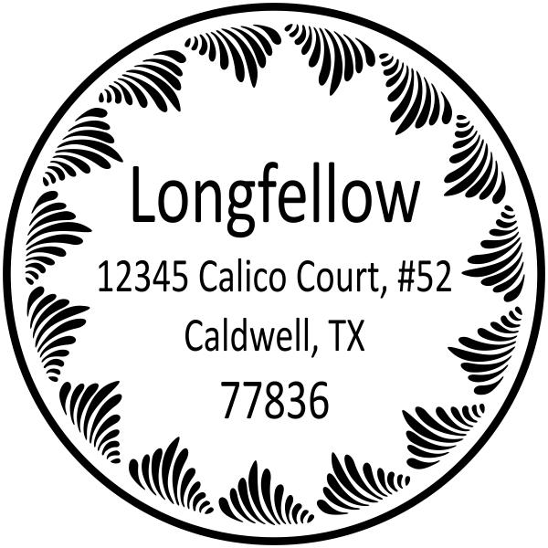 Last name return address stamp swirl border