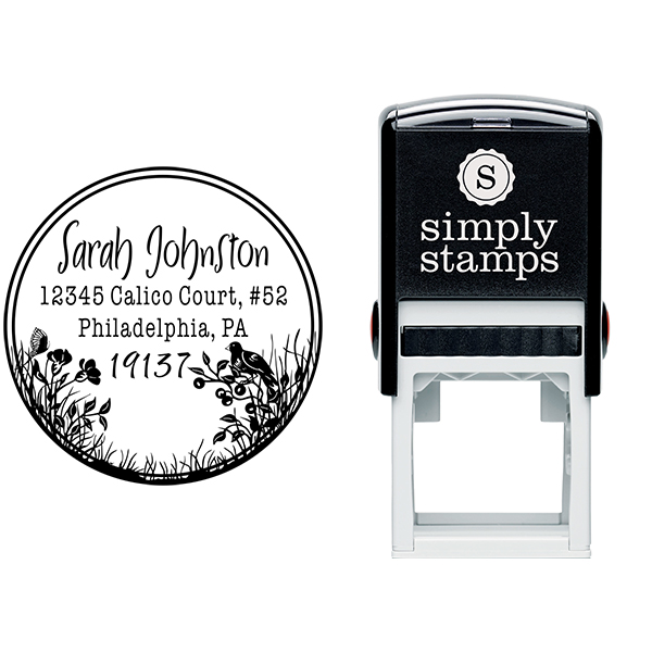 Bird Perched on Flowers Address Stamp Body and Design