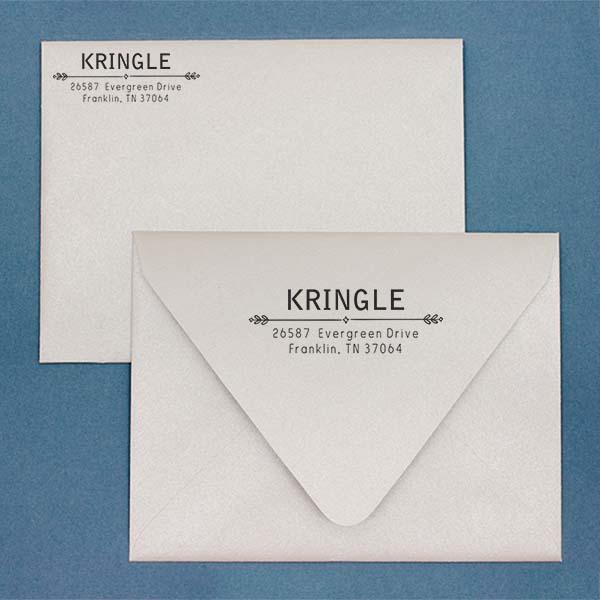 Kringle Diamond Deco Address Stamp Imprint Example