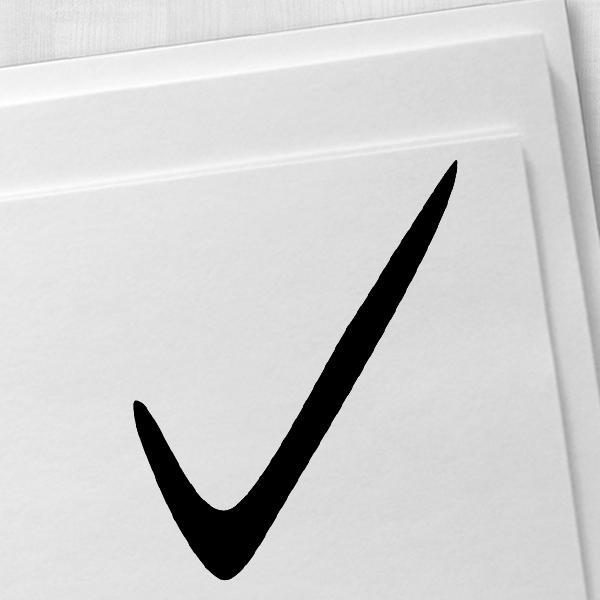 Handwritten Check Mark Rubber Stamp Imprint Example