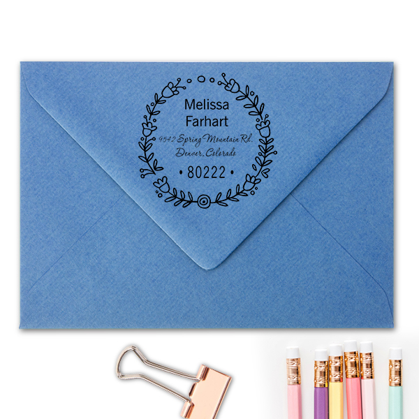 Flower Wreath Address Stamp Imprint Example
