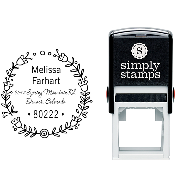 Flower Wreath Address Stamp Body and Design