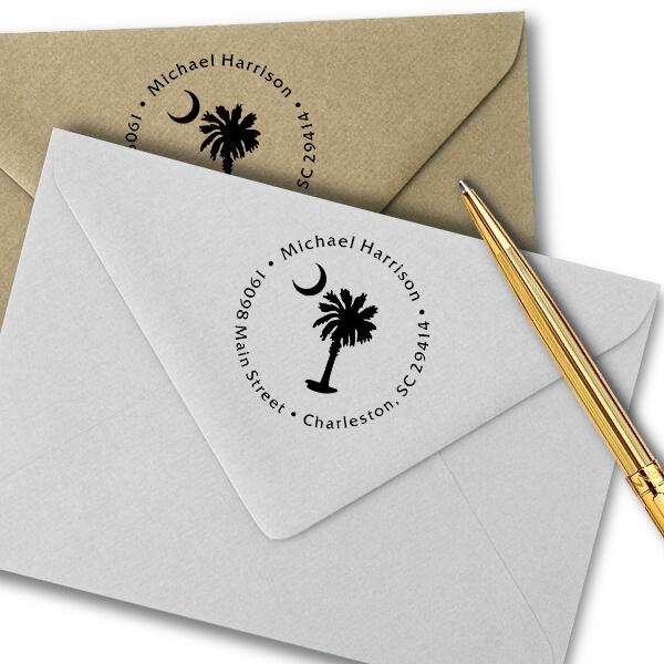 Palmetto Moon Address Stamp Imprint Example