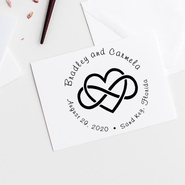 Infinity Heart Wedding Stamp Imprint Example
